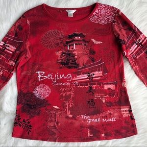 Christopher & Banks Cotton 3/4 Sleeve Printed Red